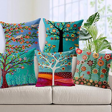 Set of 5 Linen Throw Pillow Case Pastrol Oil Painting Style Cushion Cover Home Sofa Decorative 18 X 18 Inch 45 X 45 CM