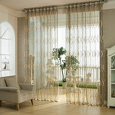 Dining Room And Living Room Solid Sheer Curtains