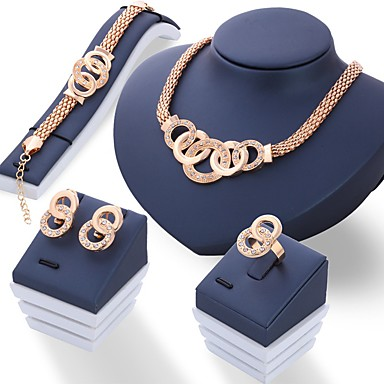 Women's Jewelry Set Ladies Unique Design Italian Rhinestone Earrings Jewelry  Gold / Silver For Wedding Party Daily / Rings / Necklace 8121366 2021 –  $7.83