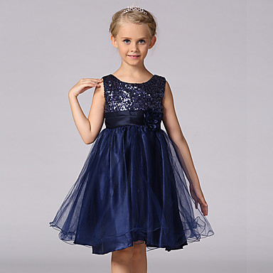 Kids Girls' Sweet Princess Party Floral Solid Colored Sequins Layered Sleeveless Dress White
