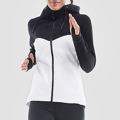 Women's Patchwork Cotton Track Jacket Running Jacket Long Sleeve Yoga Workout Fitness Gym Workout Exercise Quick Dry Sportswear Jacket Athleisure Wear Activewear