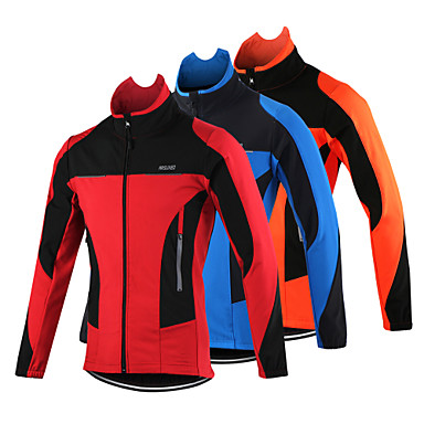 Arsuxeo Men's Cycling Jacket Bike Jacket Top Thermal / Warm Windproof Breathable Sports Polyester Spandex Fleece Winter Orange / Red / Blue Mountain Bike MTB Road Bike Cycling Clothing Apparel