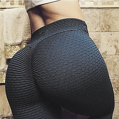 Women's High Waist Yoga Pants Ruched Butt Lifting Jacquard Leggings Butt Lift White Black Yellow Spandex Gym Workout Running Fitness Sports Activewear Stretchy Skinny Slim