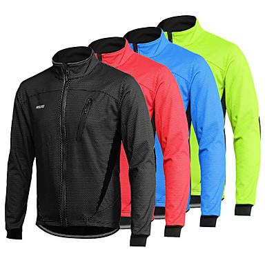 Arsuxeo Men's Long Sleeve Cycling Jacket Winter Spandex Black Red Light Green Bike Thermal Warm Windproof Breathable Anatomic Design Waterproof Zipper Sports Mountain Bike MTB Road Bike Cycling