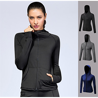 YUERLIAN Women's Full Zip Spandex Track Jacket Hoodie Jacket Long Sleeve Yoga Workout Fitness Gym Workout Exercise Quick Dry Anatomic Design Breathability Sportswear Zip Top Athleisure Wear Activewear