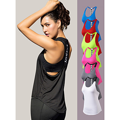 YUERLIAN Women's Running Tank Top T Back White Black Red Fuchsia Blue Mesh Spandex Yoga Fitness Gym Workout Vest / Gilet Sport Activewear Lightweight 4 Way Stretch Breathable Quick Dry Moisture