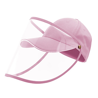 Protection Full Face Baseball Cap Transparent Hat Helmet Isolation Respirator Spittle Safety Work Protection Face Cap Anti Dust Anti Wind Dust Adjustable Removable-Pink