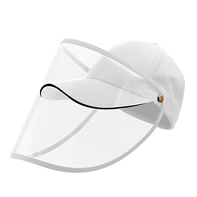 Protection Full Face Baseball Cap Transparent Hat Helmet Isolation Respirator Spittle Safety Work Protection Face Cap Anti Dust Anti Wind Dust Adjustable Removable-White