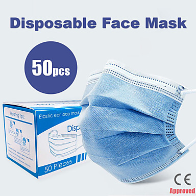 50 pcs Face Mask Breathable Disposable Protective 3 Layers In Stock Nonwoven Fabric Nonwoven CE Certification Waterproof Carrying High Quality Blue