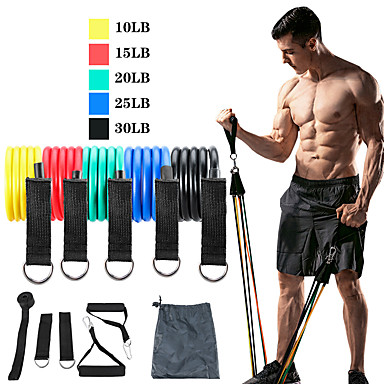 Resistance Band Set Exercise Resistance Bands 11 pcs 5 Stackable Exercise Bands Door Anchor Legs Ankle Straps Sports TPE Home Workout Pilates CrossFit Strength Training Muscular Bodyweight Training