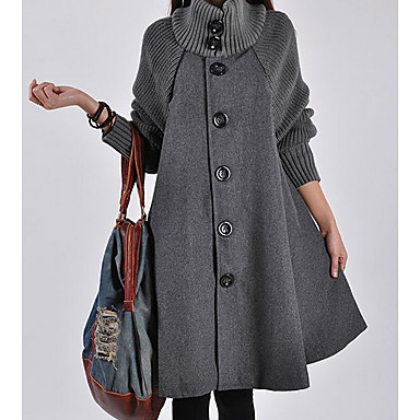Women's Single Breasted Turtleneck Fall Coat Long Solid Colored Daily Patchwork Black Red Gray M L XL / Winter