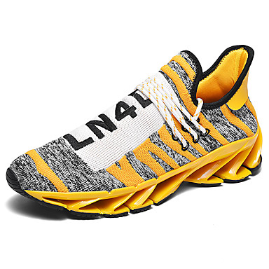 Men's Spring / Summer Sporty Athletic Outdoor Trainers / Athletic Shoes Running Shoes / Track & Field Shoes Tissage Volant Breathable Shock Absorbing Black / Yellow / Red Color Block Slogan