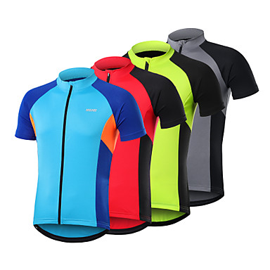 Arsuxeo Men's Short Sleeve Cycling Jersey Spandex Polyester Dark Grey Red Blue Patchwork Bike Jersey Top Mountain Bike MTB Road Bike Cycling Breathable Quick Dry Sweat-wicking Sports Clothing Apparel