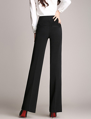 Women's Work Straight Business Pants Solid Colored Black Wine Navy Blue S M L