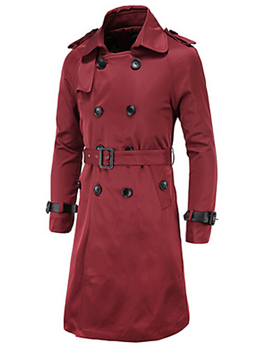 Men's Daily / Weekend Spring / Fall / Winter Long Trench Coat, Solid Colored Long Sleeve Cotton / Polyester Beige / Navy Blue / Wine / Slim