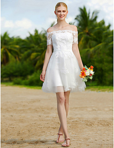 A Line Wedding Dresses Off Shoulder Short Mini Tulle Short Sleeve Little White Dress Floral Lace With Sashes Ribbons Appliques 2020 6008464 2020 84 99,Wedding Long Purple Bridesmaid Dresses