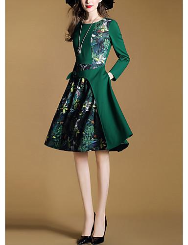 Mujer Vestido De Vaina Manga Larga Floral Otoño Invierno Simple Noche Verde Trébol Asimétrico 6356935 2021 25 29