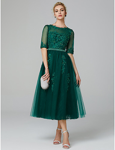 A Line Sparkle Green Wedding Guest Formal Evening Dress Illusion Neck Sleeveless Tea Length Lace Over Tulle With Sequin Appliques 2020 5140552 2020 107 99,Mothers Dresses To Wear To A Wedding