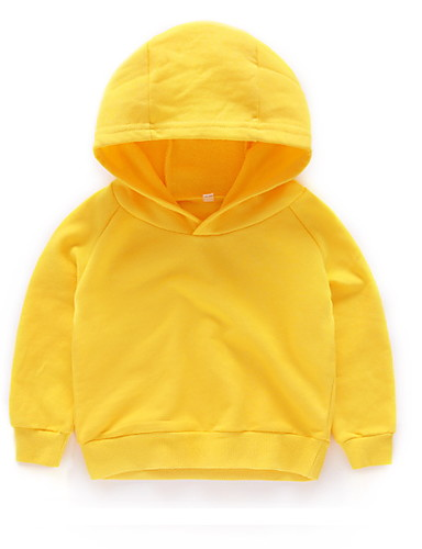 Kids Boys' Basic Solid Colored Long Sleeve Hoodie & Sweatshirt Yellow