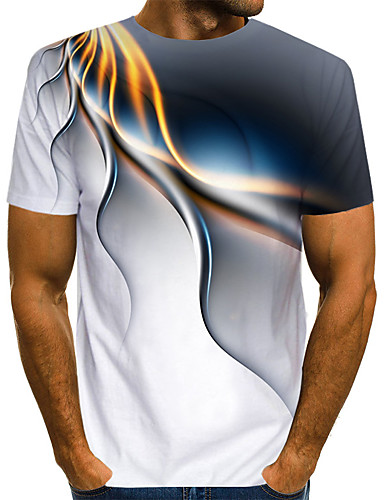 Men's Abstract Graphic Print T-shirt Street chic Exaggerated Daily Casual Round Neck White / Blue / Purple / Green / Summer / Short Sleeve