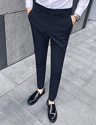 Men's Basic Suits Pants - Striped Black Light Brown Dark Gray US36 / UK36 / EU44 US38 / UK38 / EU46 US40 / UK40 / EU48
