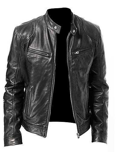 Men's Fall Stand Collar Faux Leather Jacket Regular Solid Colored Daily Basic Long Sleeve Black Brown M L XL XXL / Winter