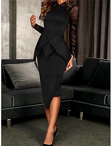 Sheath / Column High Neck Knee Length Polyester Elegant / Black Cocktail Party / Wedding Guest Dress with Ruffles / Ruched 2020