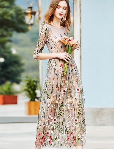 Damen Maxi Beige Kleid Elegant A-Linie Blumen 7730880 2020 ...