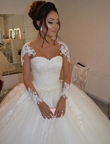 Ball Gown Wedding Dresses Sweetheart Neckline Floor Length Lace Tulle Long Sleeve Romantic Illusion Detail With Lace 2020 Bell Sleeve 7779402 2021 213 89