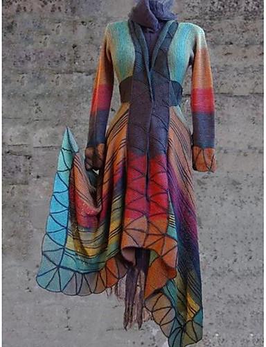 Women's Daily Regular Coat, Geometric V Neck Long Sleeve Polyester Purple / Yellow / Orange