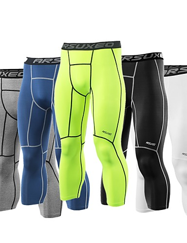 Arsuxeo Men's Leggings Running Tights Running 3/4 Capri Pants Spandex Sports 3/4 Tights Leggings Running Fitness Gym Workout Exercise Quick Dry Moisture Wicking Three Dimensional Tailor Plus Size