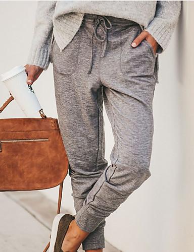 Women's Street chic Chinos Pants - Plaid / Checkered Gray Khaki XL XXL