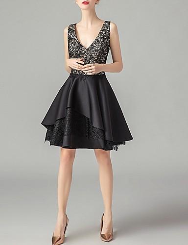A-Linie Kleines Schwarzes Kleid Party Wear Cocktailparty ...