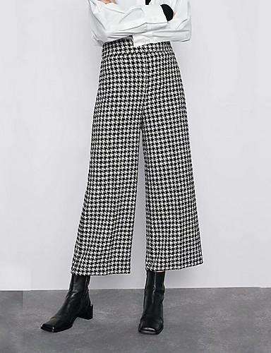 Women's Active Daily Slim Wide Leg Chinos Pants - Plaid / Checkered Black, Print High Waist Gray XS / S / M