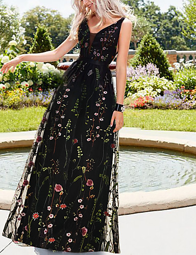A-Line V Neck Floor Length Organza / Tulle Empire / Black Holiday / Beach Dress with Pattern / Print 2020