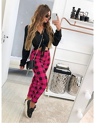 Women's Basic Loose Chinos Pants - Plaid / Checkered Black Blue Red S / M / L