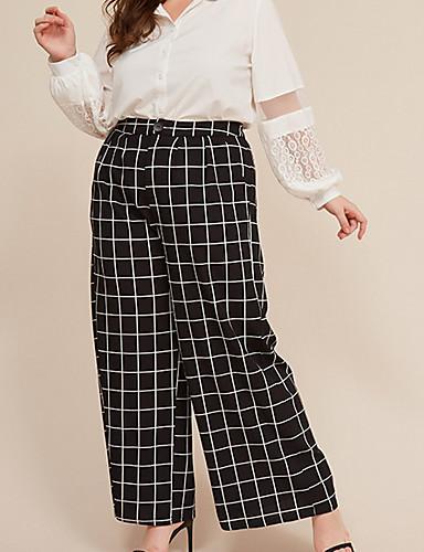 Women's Basic Loose Wide Leg Pants - Plaid / Checkered Black XL / XXL / XXXL