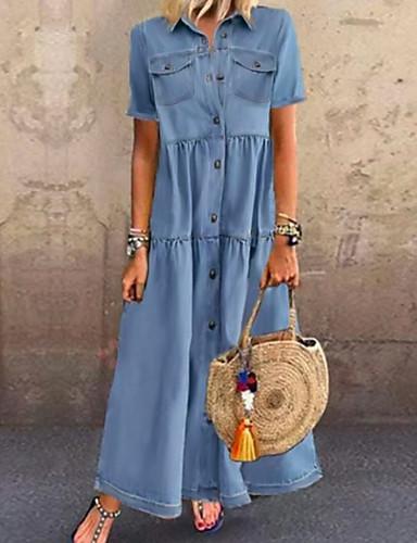 Women's Denim Shirt Dress Maxi long Dress - Short Sleeves Summer Casual Vacation Denim 2020 Light Blue S M L XL XXL XXXL