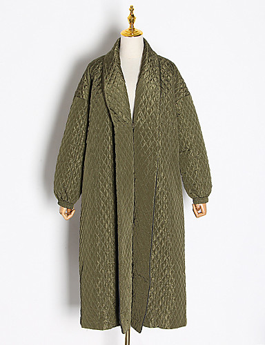 Women's V Neck Fall & Winter Coat Long Solid Colored Daily Basic Oversized Khaki Green One-Size