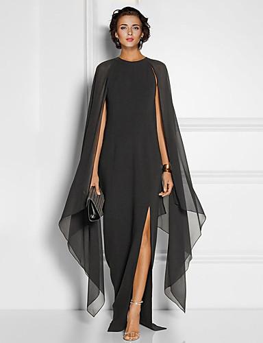 Sheath / Column Jewel Neck Floor Length Chiffon Elegant / Black Formal Evening / Wedding Guest Dress with Draping / Split Front 2020