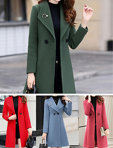 Women's Buttoned Front Fall Coat Long Solid Colored Daily Red Army Green Orange S M L / Winter