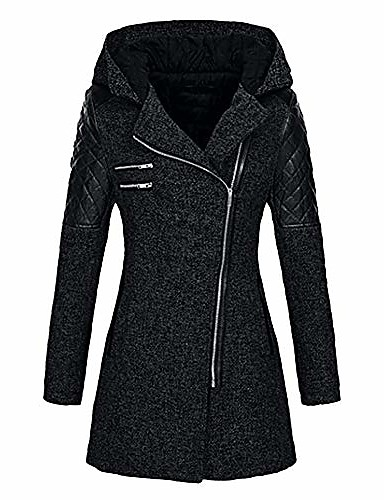 Women's Jacket Regular Solid Colored Daily Basic Rabbit Fur Navy Black Wine S M L / Cotton