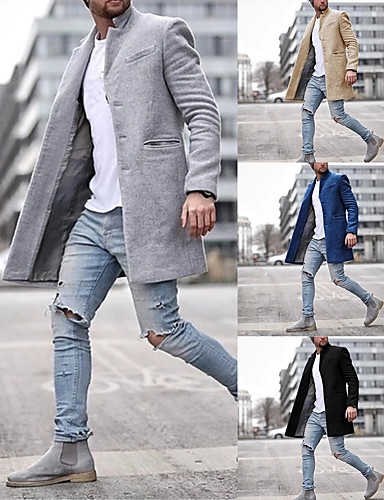 Men's Winter Overcoat Long Solid Colored Daily Long Sleeve Cotton Black Khaki Navy Blue Gray S M L XL / Work