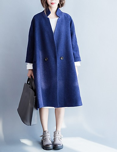 Women's Single Breasted One-button Coat Long Solid Colored Daily Basic Blue One-Size