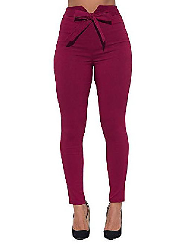 womens work pants elastic slim fit butt lift tie knot front high waist casual trousers wine-red