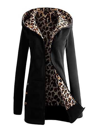 Women's Fall & Winter Jacket Regular Leopard Print Daily Black S M L XL