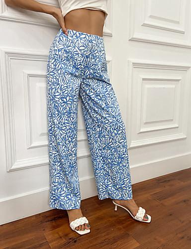 Women's Streetwear Work Dress Pants Pants Flower / Floral Print Outdoor Blue S M L