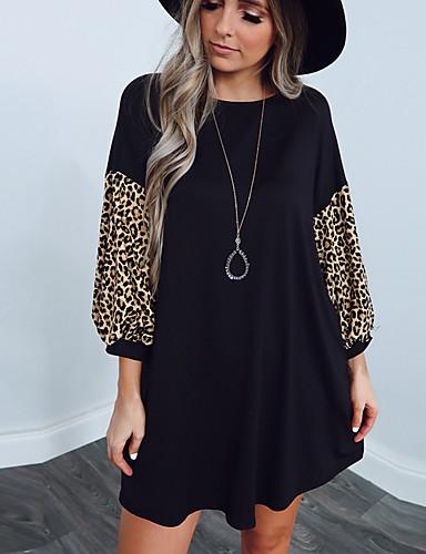 Damen A-Linie Kleid Minikleid - Langarm Leopard Patchwork ...