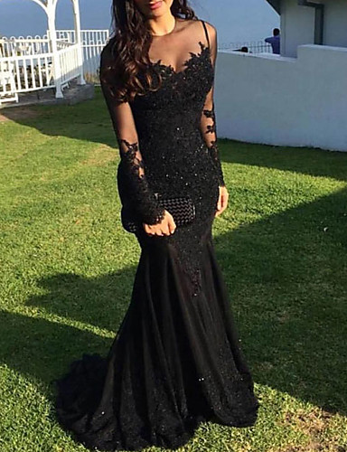 Mermaid / Trumpet Illusion Neck Sweep / Brush Train Lace Sparkle / Black Engagement / Formal Evening Dress with Appliques 2020