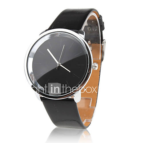 Women's Fashionable Simple Dial Black PU Band Quartz Analog Wrist Watch - EUR € 3.56
